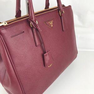 5596734b43e2 Prada Bags - New Prada Italian Galleria Lux Red Double Zip Tote